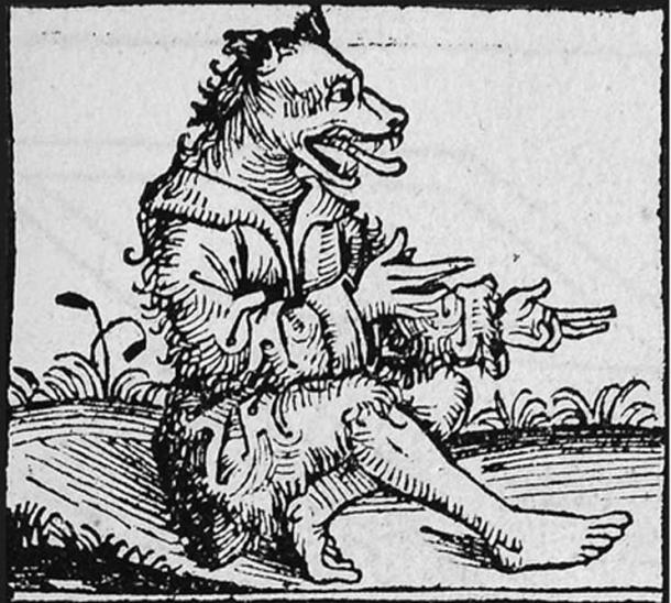16th centers German wood cut of Peter Stumpp, in his wolverine form.