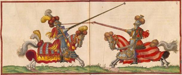 'High' 16th-century jousting in Paulus Hector Mair's compendium (public domain).