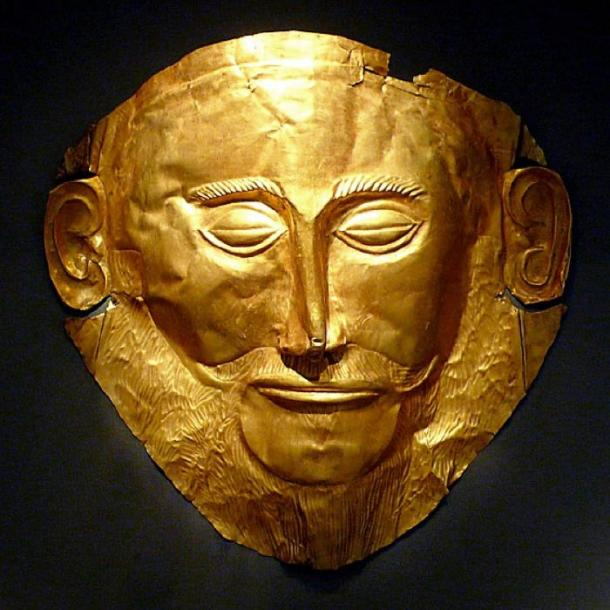 The 16th-century BC mask discovered by Heinrich Schliemann in 1876 at Mycenae, Greece, was called the 'Mask of Agamemnon'. National Archaeological Museum, Athens. (CC BY-SA 2.0)