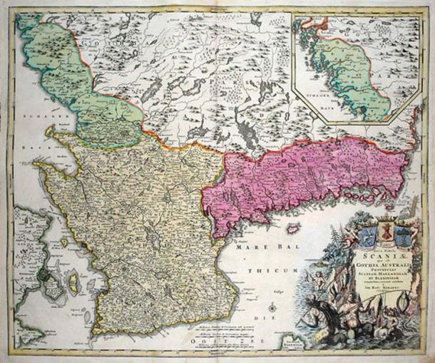 A 1710 map of Skåneland, which consists of the provinces Scania, Halland and Blekinge.