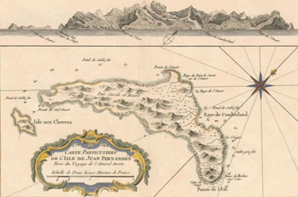 1753 map of Isla Más a Tierra (known today as Robinson Crusoe), the largest of the three islands that constitute the Juan Fernández group. When explorers' narratives mention stops at Juan Fernández, they usually are referring to this island. (Public Domain)