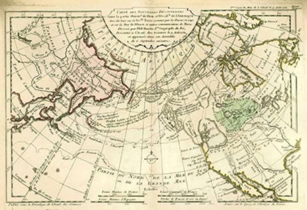 1753 world map by the French cartographer Philippe Buache