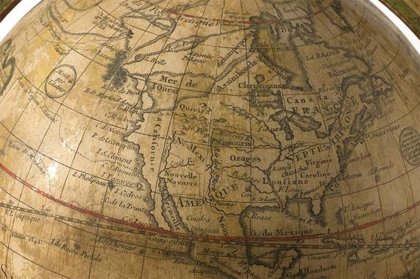 1765 globe by Guillaume Delisle, showing a fictional Northwest Passage. (Minnesota Historical Society/CC BY SA 3.0)