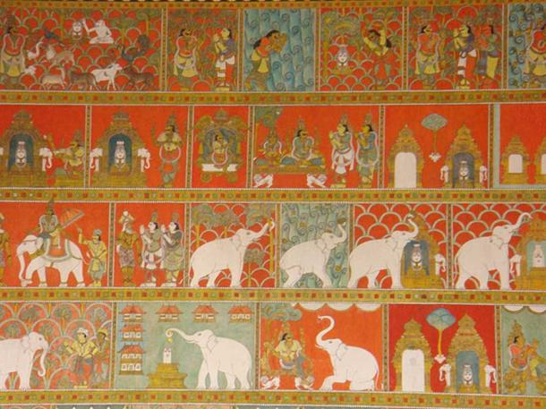 17th century Wall paintings in the Madurai Meenakshi Temple depicting the founding legend of the temple.