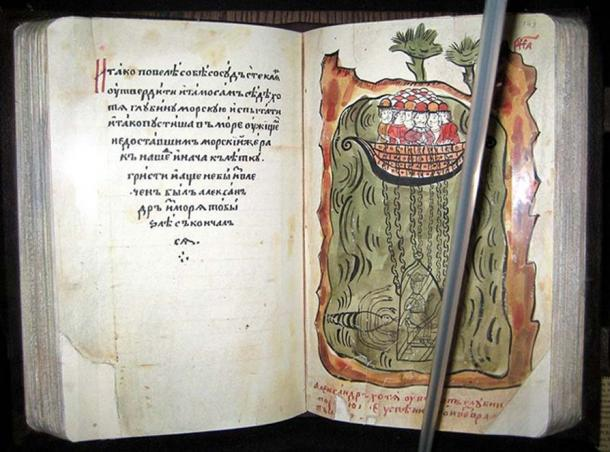 17th-century manuscript of an Alexandrine novel (Russia): Alexander exploring the depths of sea.