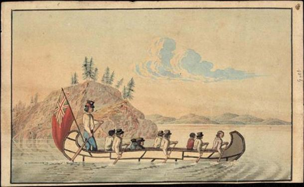 1825 illustration of Hudson's Bay Company officials in an express canoe crossing a lake. (Public Domain)