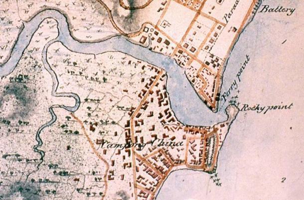Un mapa de Singapur 1825 que muestra la ubicación de Rocky Point, en la desembocadura del río Singapur, donde la losa de piedra arenisca se levantó.