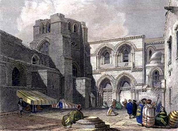 1834 engraving of the entrance to the Church of the Holy Sepulchre.