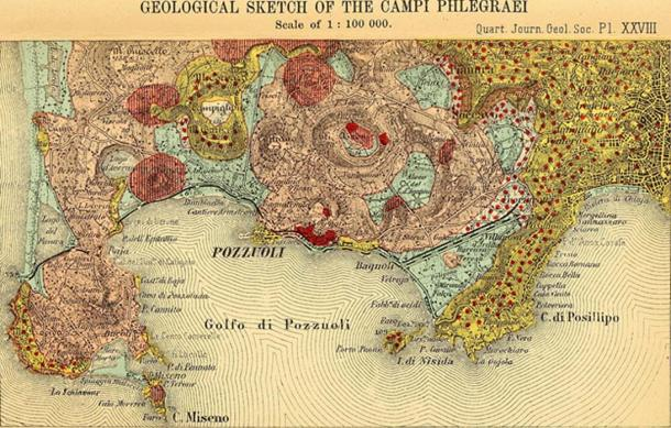 An 1845 map of Campi Flegrei by the Quarterly Journal of the Geological Society of London.