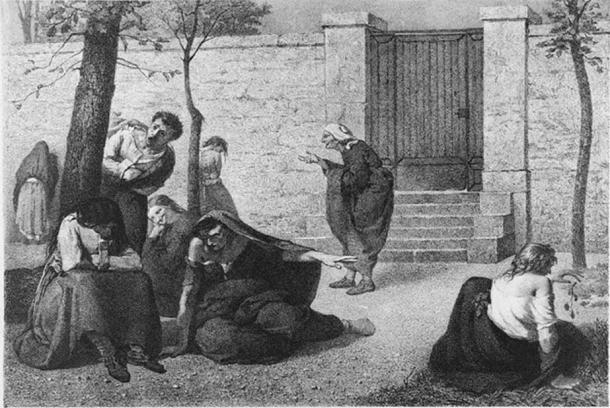 1857 lithograph by Armand Gautier, showing personifications of dementia, megalomania, acute mania, melancholia, idiocy, hallucination, erotomania and paralysis in the gardens of the Hospice de la Salpêtrière. Reprinted in Madness: A Brief History.