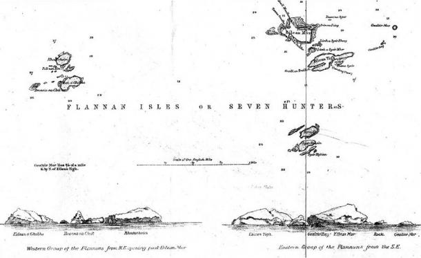 An 1898 map of the Flannan Isles.
