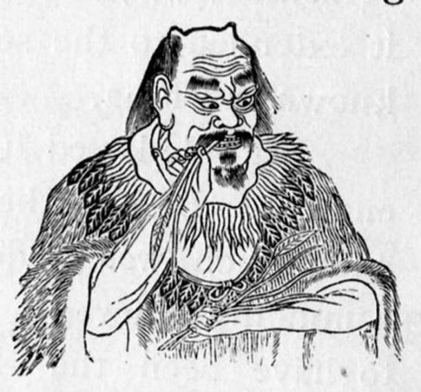 1914 depiction of Shennong tasting herbs to discover their qualities.