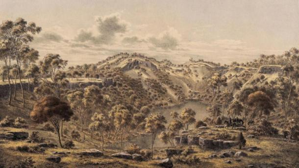 A 19th century drawing of the lake in the crater at the top of Budj Bim.   Source: Eugene von Guerard / Public domain