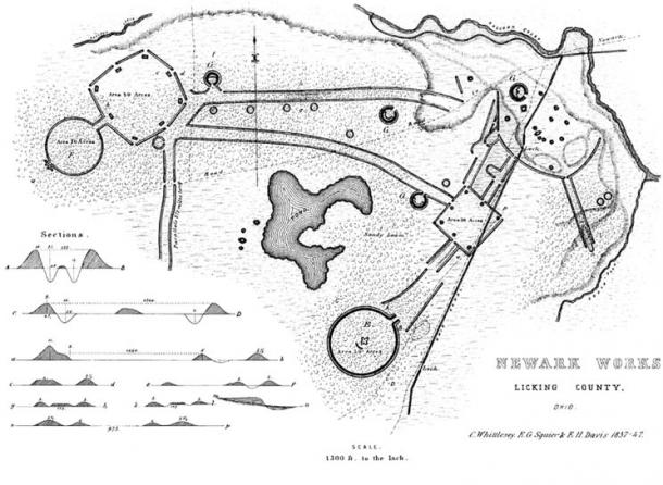 A 19th century engraving showing the layout of the Newark Earthworks in Licking County, Ohio