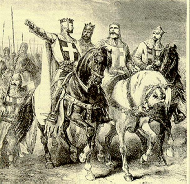 A romantic 19th century vision of Godfrey de Bouillon and the leaders of the first Crusade, 1095-99.
