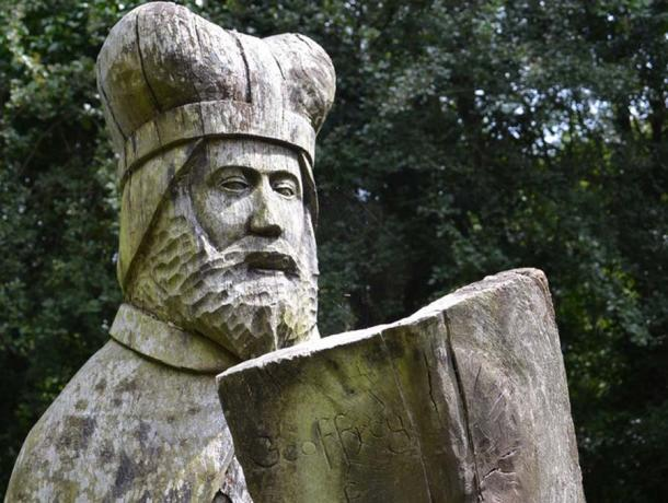 Statue of Geoffrey of Monmouth, one of the Circle of Legends made up of six wooden sculptures at Tintern Old Station in Monmouthshire, Wales. (Colin Cheesman / CC BY-SA 2.0)
