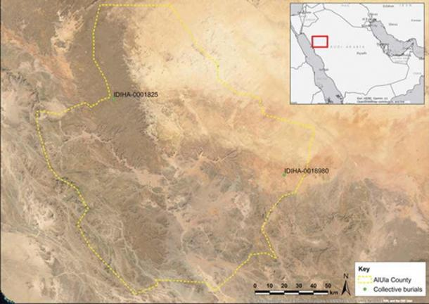 Location of the burial sites discovered, one of which contained the Saudi Arabian dog remains under investigation. (Thomas, H. et. al / Journal of Field Archaeology)