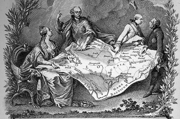 Allegory of the 1st partition of Poland, showing Catherine the Great of Russia (left), Joseph II of Austria and Frederick the Great of Prussia (right) quarrelling over their territories.