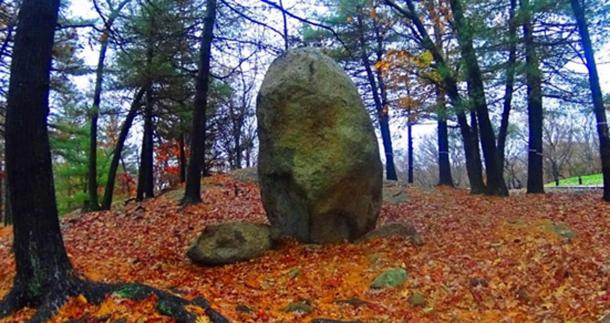 20-ton standing stone in Lynn Woods Reserve