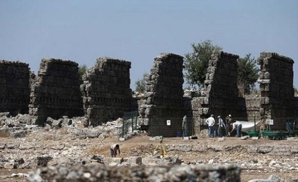 A 2000-year-old two-story shop complex has been excavated at Aspendos, Turkey.