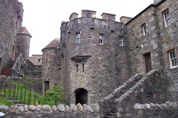 The 20th Century reconstructed Eilean Donan, Highlands Loch Castle entrance