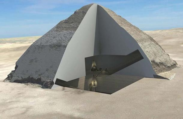 A 3-D cutaway showing the inside of the Pyramid of Sneferu.