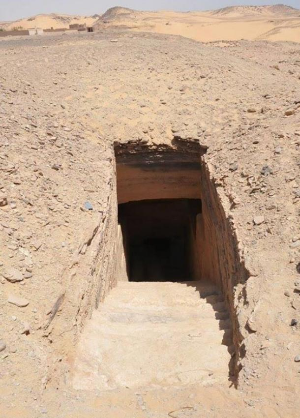 A 30-step stairway leads underground to the tombs, which are near Aswan on the Nile River.