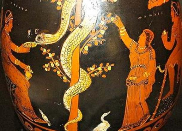 350 BC representation of the Hesperides tending to the tree and serpent.