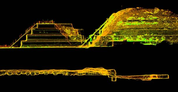 3D laser scan created by a drone shows that depth and length of the tunnel carved into solid bedrock. The small cavities (lower spaces) in the tunnel may have been chemical mixing chambers as evidence by the water, pyrite, mercury, and radon gas that was discovered.