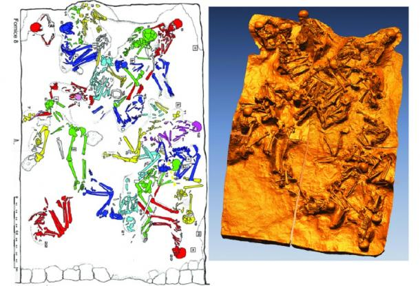 A plan and 3D map of the location of bodies in one of the fornici. (Rachelle Martyn et al, Antiquity)