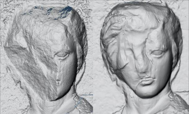 3D model of the figure from the North Frieze (original on the left, Elgin's Cast on the right). The Elgin cast appears to feature an effort to reconstruct the missing portion. (Dr Emma Payne, 3D imaging conducted courtesy of the Trustees of the British Museum and Acropolis Museum / Antiquity)