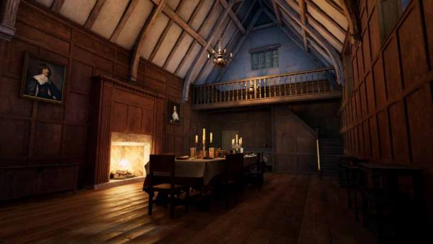 A 3D reconstruction of Coleshill Hall the largest room in what was once Coleshill Manor. (HS2 Ltd.)