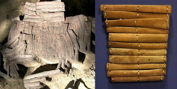 Left: 4,000-year-old bone armor found in the Siberian city of Omsk (The Siberian Times). Right: Bone armor from North Alaskan at an exhibit in the Glenbow Museum, Calgary, Alberta, Canada.