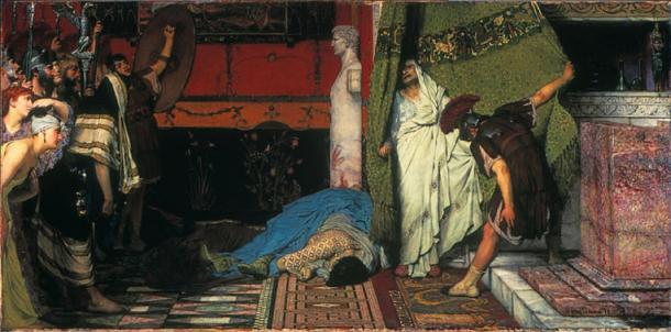 In AD 41, the debauched Roman Emperor Caligula was murdered. Gratus, a member of the Praetorian, draws a curtain aside to reveal the terrified Claudius who is hailed as emperor on the spot. (Lawrence Alma Tadema / Public domain). Caligula reigned for around 4 years.