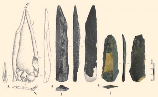 45,000-year-old stone tools uncovered at the Tolbor-16 site. Source: Zwyns et al / Fair Use.