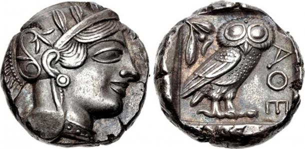 454-404 BC Attica, Athens. Tetradrachm. Helmeted head of Athena right / ΑΘΕ, owl standing right; olive-sprig and crescent above. (Classical Numismatic Group, Inc