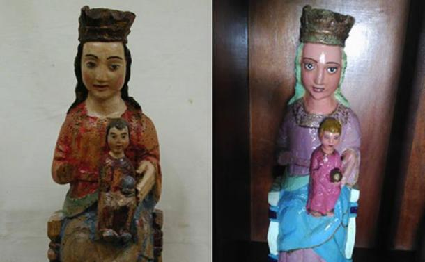 500-year-old Virgin and Child statue has been 'brightened up' with industrial enamel. (Image: El Comercio)