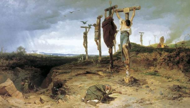 6,000 of Spartacus' followers were crucified between Rome and Capua