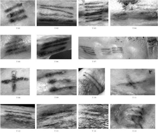 The 61 lines that make up the tattoos on Ötzi, a 5,300-year-old iceman found in the Italian Alps in 1991.