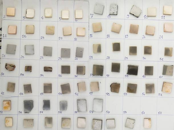 64 metal samples using variable copper-tin-arsenic compositions created to use in the study
