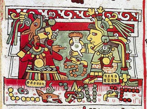 8-Deer ('Jaguar Claw') receives a jug of cacao from the hands of his wife 13-Snake ('Flower Snake'), Codex Zouche-Nuttall pl. 26. (Image: mexicolore)