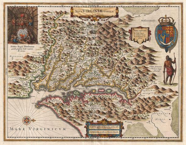 "A 1630 map of Virginia; written across the middle is the name ""Powhatan."" (Public Domain)"