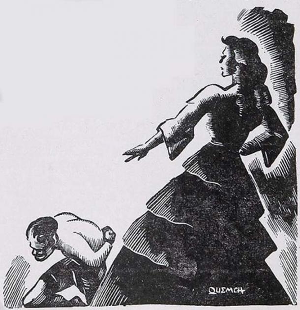 A 1942 illustration by Quemch of La Quintrala abusing a slave. (Public Domain)