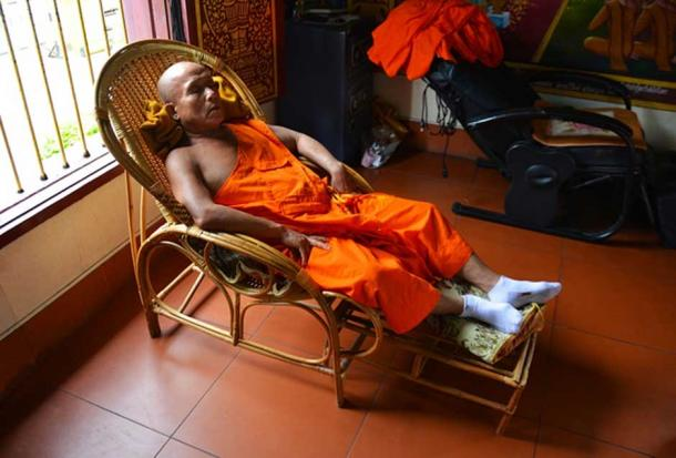 A Buddhist monk in a state of sleep.