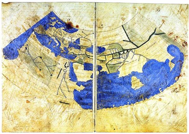 A Byzantine Greek world map according to Ptolemy's first (conic) projection. From Codex Vaticanus Urbinas Graecus 82, Constantinople c. 1300. (Public Domain)