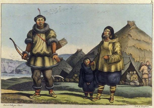 A Chukchi family in front of their home near the Bering strait. Drawing by Louis Choris in summer 1816.