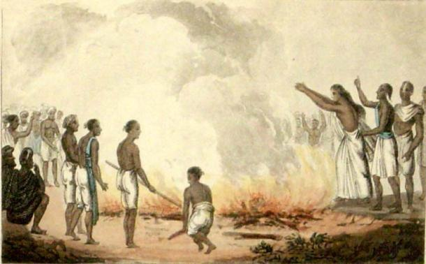 A Hindu widow burning herself with the corpse of her husband, 1820s, by English illustrator Frederic Shoberl. (Public Domain)