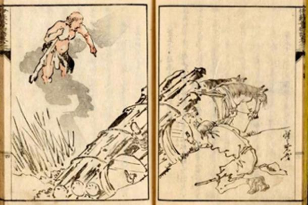 A Japanese woodblock print illustrating the moral of Hercules and the Wagoner, one of Aesop's fables. (Mzilikazi1939 / Public Domain)