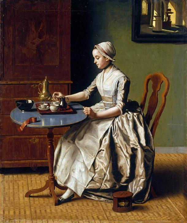A Lady Pouring Chocolate (1744) depicting drinking chocolate paraphernalia.