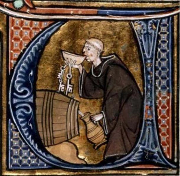 A Monk Cellarer tasting wine from a barrel, Li Livres dou Santé, (13th Century manuscript), France.